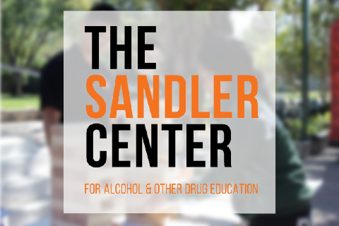 The Sandler Center For Alcohol & Other Drug Education Logo over peer educators hosting an event