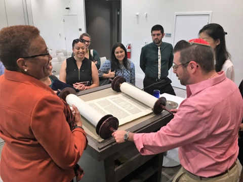 Rabbi Lyle Rothman with Dean of Students Office Staff